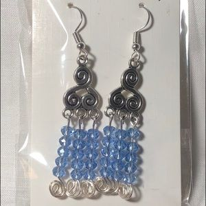Earrings pair of 2 Dangle Wire Crystals Blue
